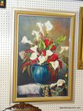LARGE FLORAL STILL LIFE IN GOLD COLORED FRAME; SHOWS A BLUE AND GOLD TONED VASE FILLED WITH A