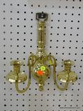 BRASS CANDLESTICK SCONCE; CAN HOLD UP TO 2 CANDLES AND IS IN VERY GOOD CONDITION! MEASURES 11 IN X