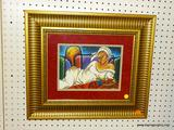 FRAMED BEAL PRINT; THIS PRINT BY BEAL FEATURES A BEAUTIFUL AFRICAN AMERICAN WOMAN WEARING WHITE AND