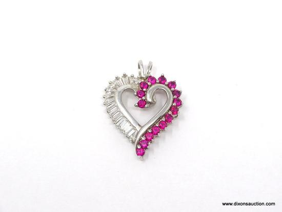 LADIES .925 STERLING SILVER 2 CT. RUBY & CZ HEART PENDANT. MEASURES 1 IN. BY 1 IN.