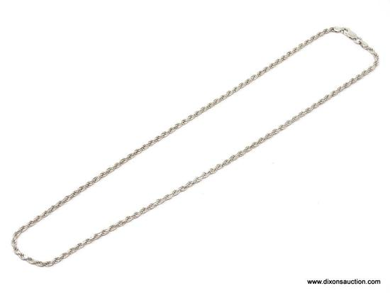UNISEX .925 STERLING SILVER 3MM DIAMOND CUT ROPE NECKLACE. MEASURES 20 IN. LONG. WEIGHS 14.1 GRAMS.