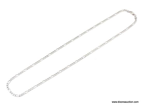 UNISEX .925 STERLING SILVER 3-1 FIGARO NECKLACE. MEASURES 22 IN. LONG.