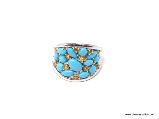 LADIES .925 STERLING SILVER 3 CT. TURQUOISE & CITRINE GEMSTONE RING. WEIGHS 6.2 GRAMS. RING SIZE IS