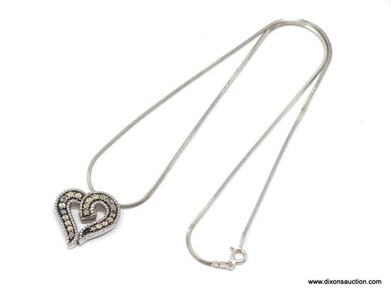 LADIES .925 STERLING SILVER CHAIN & HEART PENDANT. MEASURES 16 IN. LONG. WEIGHS 9 GRAMS.