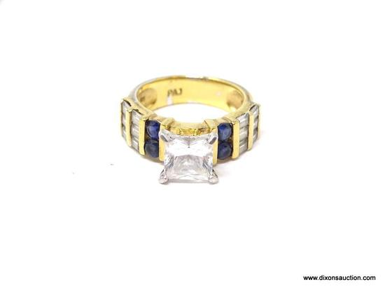 LADIES .925 STERLING SILVER & GOLD OVERLAY 3 CT. CZ & SAPPHIRE ENGAGEMENT RING. RING SIZE 6-1/4.