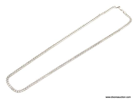 "UNISEX .925 STERLING SILVER 4MM ANCHOR CHAIN NECKLACE. MEASURES 20"" LONG & WEIGHS 18.4 GRAMS."