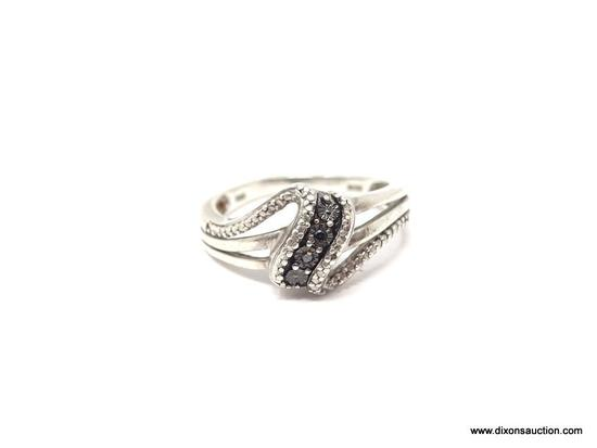 LADIES .925 STERLING SILVER BLACK DIAMOND RING. RING SIZE 7.