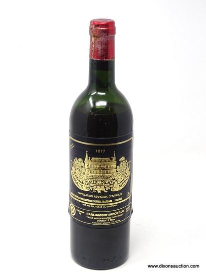 1977 CHATEAU PALMER MARGAUX MEDOC; THIS RED TABLE WINE TENDS TO BE DEEP RUBY IN COLOR, PERFUMED AND