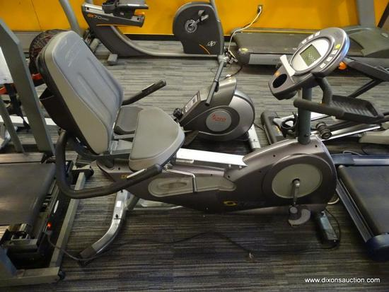 CYBEX CR 530 EXERCISE BIKE; FEATURES A GREY COLOUR SCHEME THROUGHOUT AND HAS BRAND MARKINGS