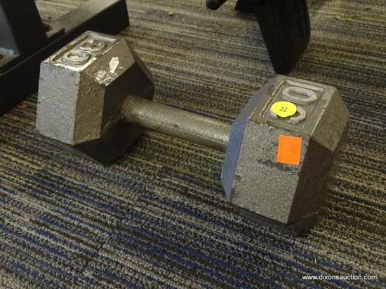 DUMBELL; 30 LB SINGLE DUMBBELL. IS IN EXCELLENT CONDITION AND READY FOR YOUR WEIGHT TRAINING NEEDS!