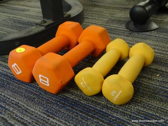 SET OF 4 DUMBELLS; INCLUDES A PAIR OF 8LB WEIGHTS AND 4LB WEIGHTS