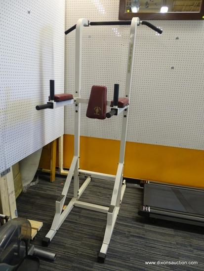 GOLD'S GYM MILLENIUM SERIES FREE-STANDING POWER TOWER 2500 EXERCISE STATION; IS IN GOOD CONDITION