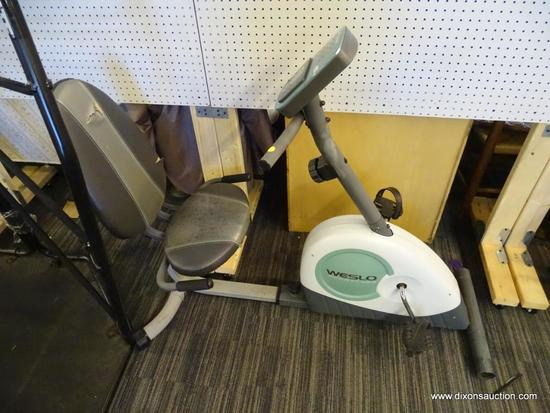 WESLO PURSUIT CT 3.8R EXERCISE BIKE; HAS ADJUSTABLE RESISTANCE, 2 PACER WORKOUTS, ADJUSTABLE SEAT,