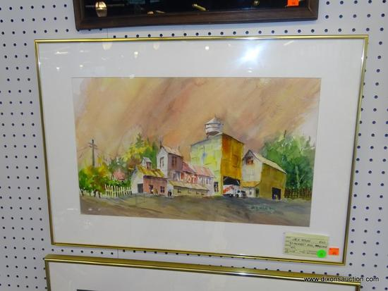 """ORIGINAL JACK NOLAN WATERCOLOR; """"ST. MICHAEL'S MILL, MARYLAND"""" WATERCOLOR PAINTING SHOWING TALBOT"""