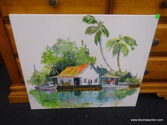 ORIGINAL JACK NOLAN WATERCOLOR; UNNAMED WATERCOLOR ON CANVAS PEOPLE ON THE DOCK OUTSIDE OF A