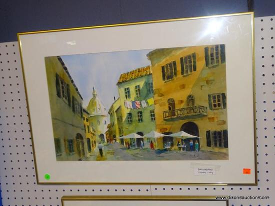 "ORIGINAL JACK NOLAN WATERCOLOR; ""SAN GIMIGNANO TUSCANY, ITALY"" WATERCOLOR PAINTING SHOWS A MAN"