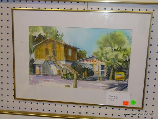 "ORIGINAL JACK NOLAN WATERCOLOR; ""STAR FISH CORTEZ FL."" WATERCOLOR PAINTING SHOWS THE STAR FISH CO."