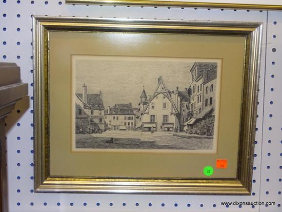 FRAMED VINTAGE PRINT; REPRODUCTION PRINT OF A FRENCH STREET SCENE IN THE 1880'S. SIGNED AND DATED BY