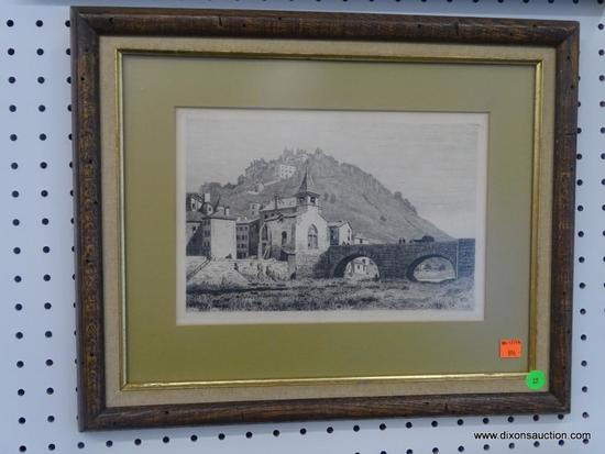 FRAMED VINTAGE PRINT; REPRODUCTION OF A SKETCH OF A CHURCH BY A STONE BRIDGE. SIGNED BY ARTIST IN