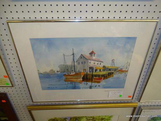 """ORIGINAL JACK NOLAN WATERCOLOR; """"GLOUCESTER MARINA"""" PAINTING SHOWING BOATS DOCKED AT THE MARINE IN"""