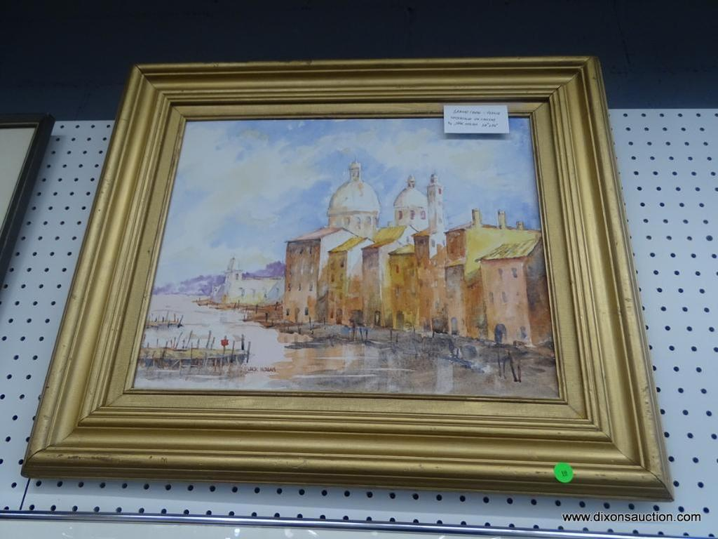 """ORIGINAL JACK NOLAN WATERCOLOR; """"GRAND CANAL VENICE"""" WATERCOLOR ON CANVAS SHOWS THE MAIN CANAL IN"""