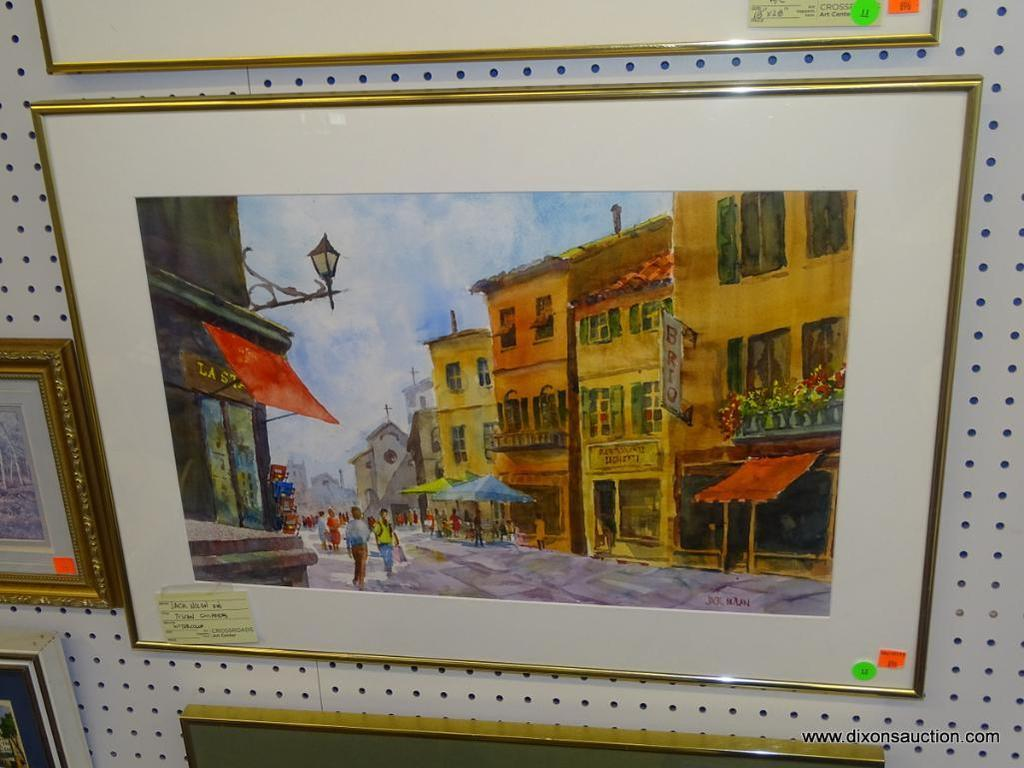 "ORIGINAL JACK NOLAN WATERCOLOR; ""TUSCAN SHOPPERS"" WATERCOLOR PAINTING SHOWING PEOPLE SHOPPING IN"