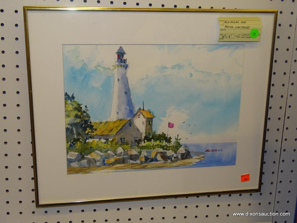"ORIGINAL JACK NOLAN WATERCOLOR; ""MAINE LIGHTHOUSE"" WATERCOLOR PAINTING SHOWING A LIGHTHOUSE ON A"