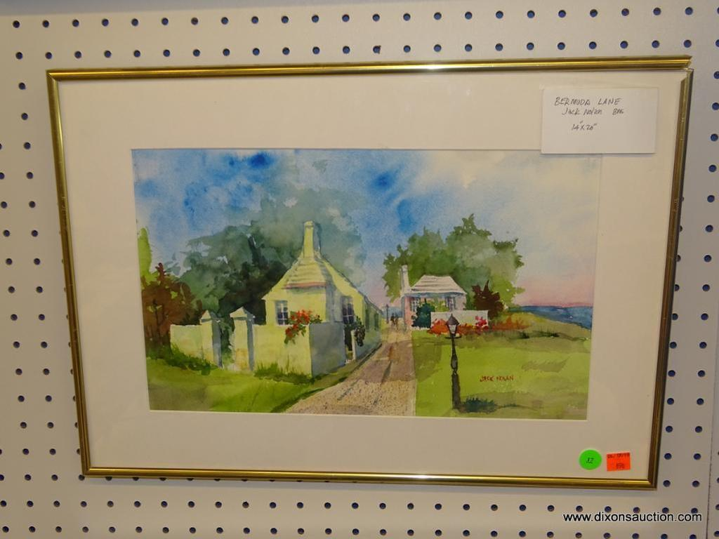 "ORIGINAL JACK NOLAN WATERCOLOR; ""BERMUDA LANE"" WATERCOLOR PAINTING SHOWING HOMES SEPARATED BY A LANE"