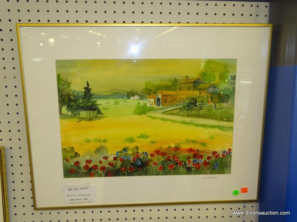 """ORIGINAL JACK NOLAN WATERCOLOR; """"THE HAY WAGON"""" WATERCOLOR PAINTING SHOWS A FIELD OF FLOWERS IN THE"""