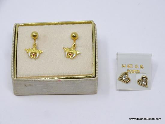 LOT OF LADIES EARRINGS; 2 PIECE LOT TO INCLUDE: PAIR OF 14KT. GOLD FILLED HEART SHAPED EARRINGS WITH