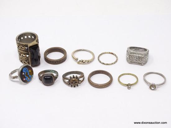 LOT OF ASSORTED COSTUME RINGS; LOT INCLUDES 11 SILVER TONED RINGS. SIZES 5 3/4- 9 1/2.
