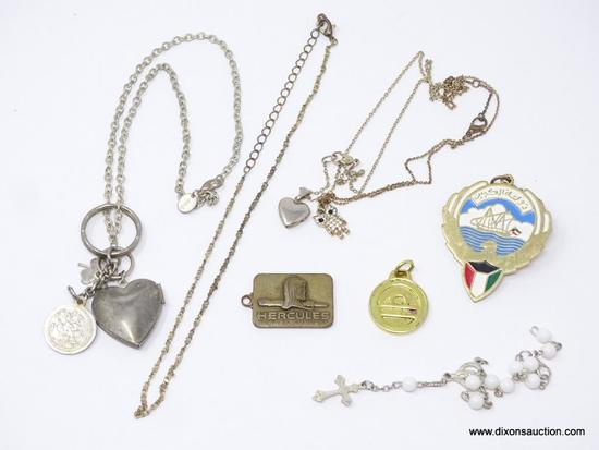 LOT OF ASSORTED COSTUME JEWELRY; LOT INCLUDES A MIDDLE EASTERN CHARM ON A CHAIN, 2 HEART LOCKETS ON