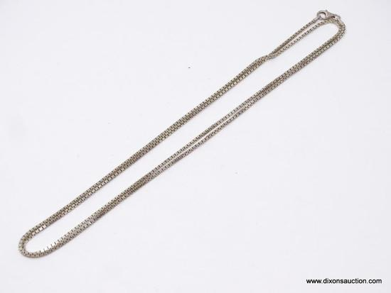 UNISEX .925 STERLING SILVER CHAIN; 30 IN BOX CHAIN NECKLACE.