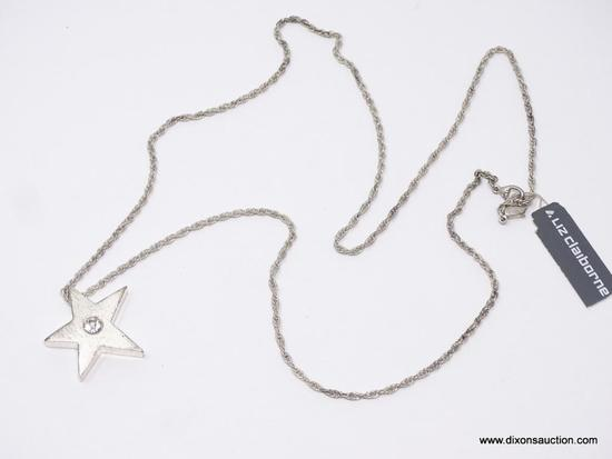 LADIES LIZ CLAIBORNE NECKLACE; 34 IN LADIES CHAIN NECKLACE AND STAR PENDANT WITH CENTER STONE. STILL