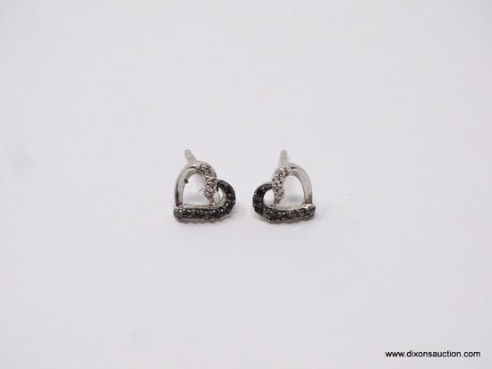 """LADIES .925 STERLING SILVER EARRINGS; TWO-TONE HEART EARRINGS WITH STONES. MARKED """"SUN"""" AND """".925"""""""