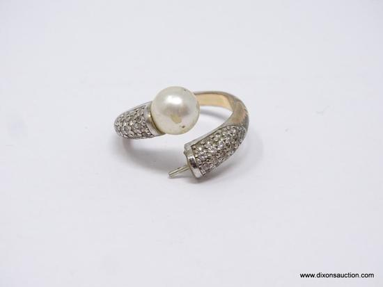 LADIES .925 STERLING SILVER RING; WRAP STYLE RING WITH FAUX PEARL, AND CLUSTER OF SMALL STONES ON