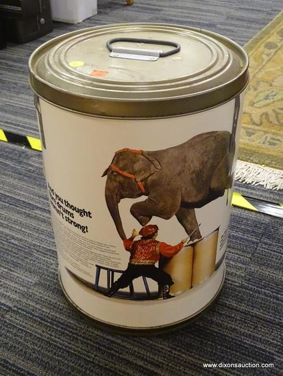 VINTAGE DRUM CONTAINER; THE FIBER DRUM, FEATURING A ELEPHANT STANDING ON TWO DRUMS WITH A BASE OF