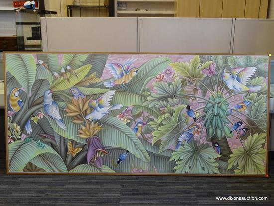 (FRONT) LARGE TROPICAL BALI CANVAS; OVERSIZED CANVAS WITH ASSORTED TROPICAL BIRDS, BUTTERFLIES, AND