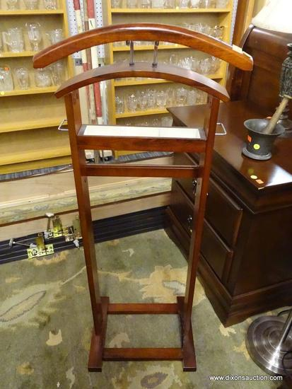 WOODEN CHARGING VALET STAND; FEATURES IVORY FELT ORGANIZER, 2 SMALL CHROME STORAGE HANDLES ON EACH