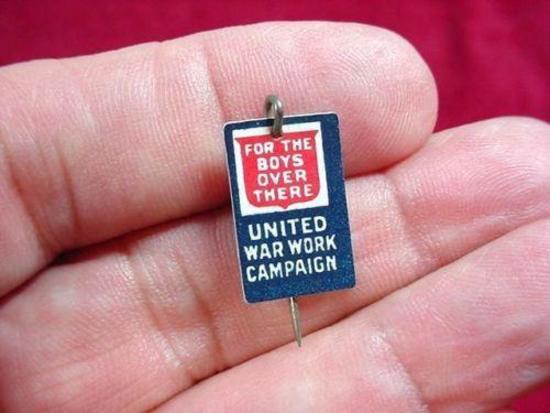 Original WWI 1918 United War Work Campaign Donation Donor Lapel Pin Original WWI United War Work