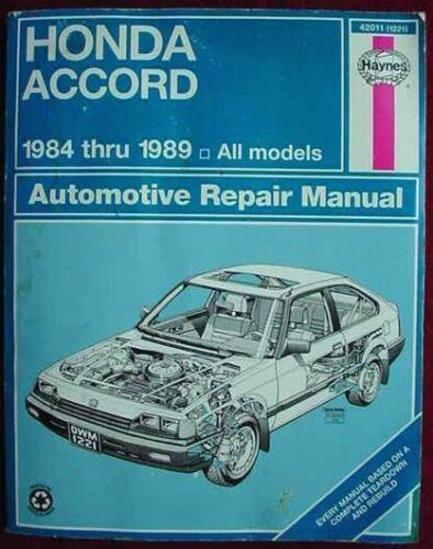 HONDA ACCORD 1984 to 1989 ALL MODELS HAYNES REPAIR MANUAL Large format HAYNES REPAIR MANUAL for the