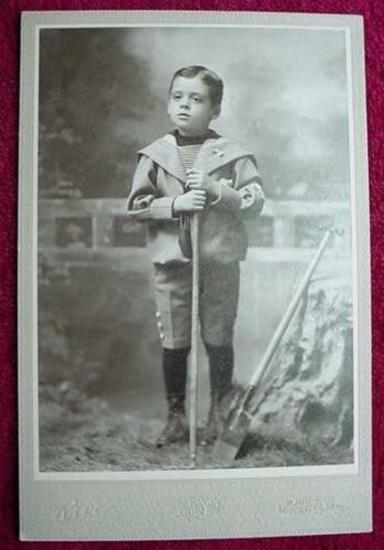 1890 Cabinet Photo Boy in Sailor Suit with Shovel & Rake Circa 1890 Cabinet Card photograph of a