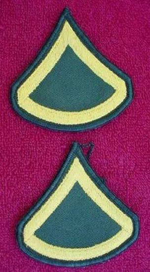 PAIR US ARMY PRIVATE FIRST CLASS RANK CHEVRONS PFC Nice matching pair of US Army Private First Class