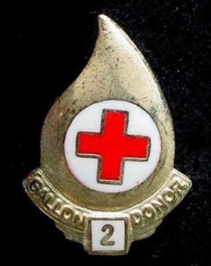 Old Gold & Enamel Red Cross 2 Gallon Blood Donor Pin Beautiful enamel pin from the AMERICAN RED