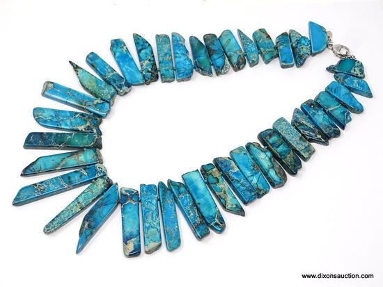 "LUCAS LAMETH SHALE SPLIT TURQUOISE & .925 NECKLACE; 20"" NECKLACE WITH VERY LARGE .925 LOBSTER CLASP"