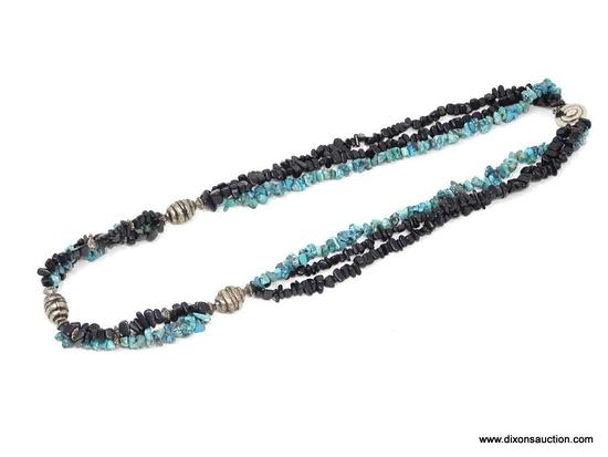 "30"" TURQUOISE CHUNK & JET CHUNK .925 NECKLACE; AWESOME 30"" CHUNK TURQUOISE & JET CHUNK NECKLACE WITH"