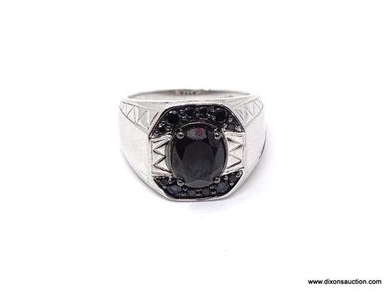 .925 BLACK TOURMALINE MEN'S HEALING RING; LARGE SIZE 12 MEN'S .925 STERLING AND 4 CARAT BLACK