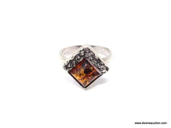ARTISAN STERLING AND AMBER RING; GORGEOUS ARTISAN HANDMADE STERLING SILVER RING WITH BEAUTIFUL AMBER