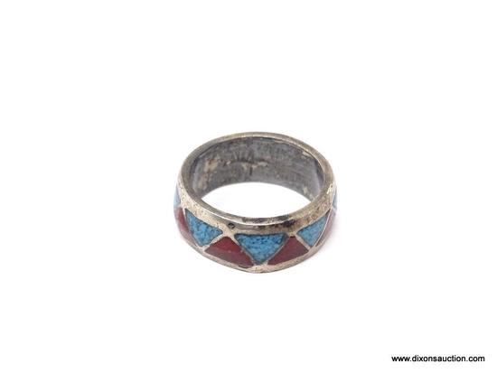 STERLING SILVER NATIVE MADE TURQUOISE & CORAL RING; BEAUTIFUL NATIVE MADE STERLING SILVER TURQUOISE