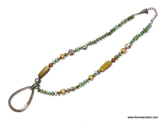"STUNNING SILPADA .925 TURQUOISE & ABALONE NECKLACE; RARE AND GORGEOUS 24"" SILPADA .925 TURQUOISE AND"